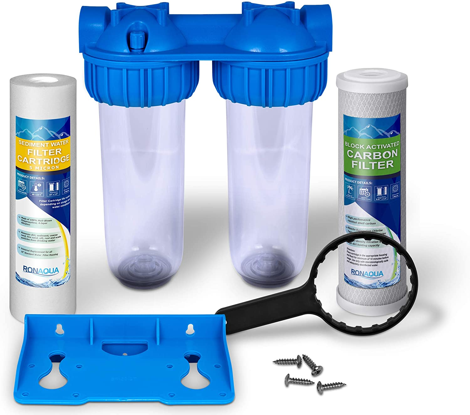 """3//4/"""" Inlet//Outlet Brass Port Dual Whole House Water Filter System 5 Mic Pleated /& Standard Sediment Filters Meets NSF Standards /& Regulations Presser Relief Button Transparent Standard Housings"""