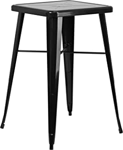 """Flash Furniture Commercial Grade 23.75"""" Square Black Metal Indoor-Outdoor Bar Height Table"""