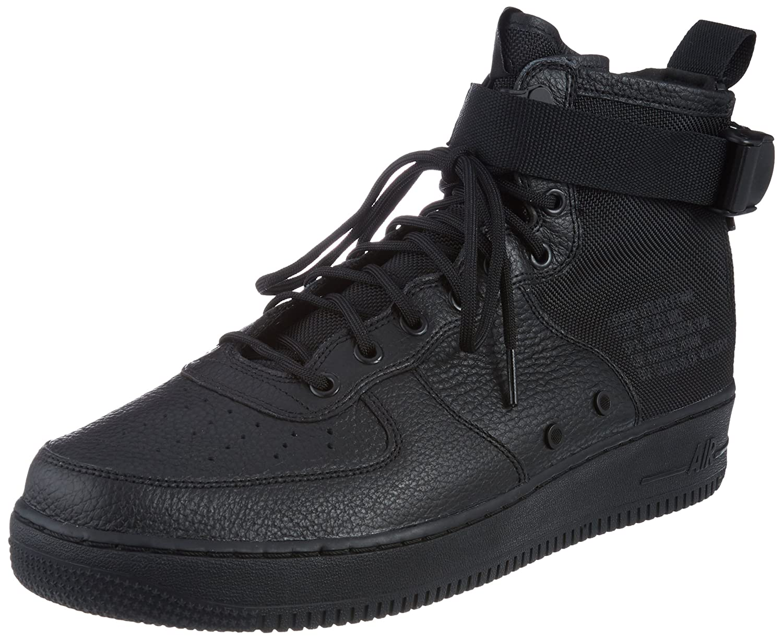 Nike Herren SF Air Force 1 Mid Schwarz Leder Synthetik Turnschuhe B078NWV682 | Verschiedene Waren
