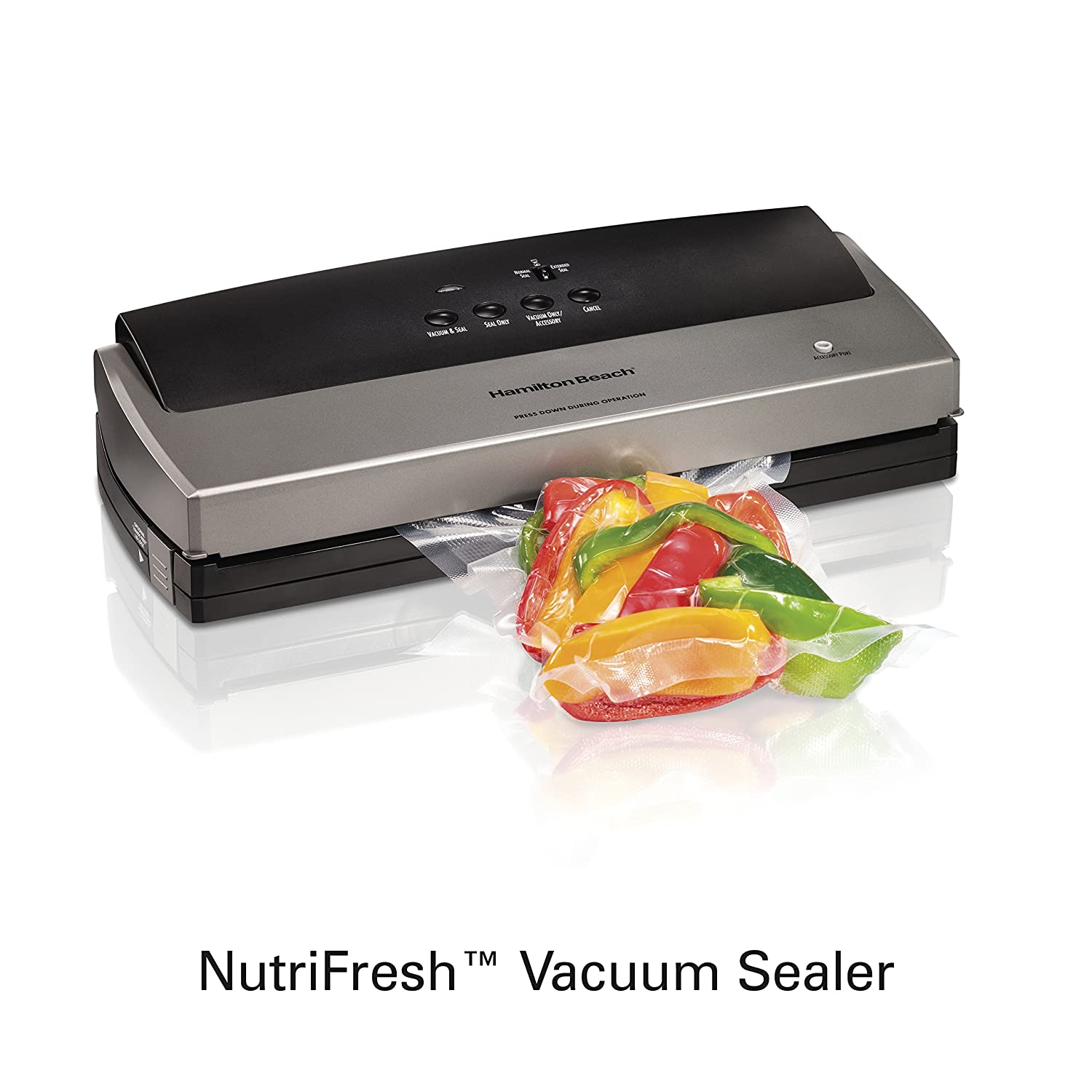 Hamilton Beach 78213 NutriFresh Vacuum Sealer with 12 Bag Starter Set, Grey