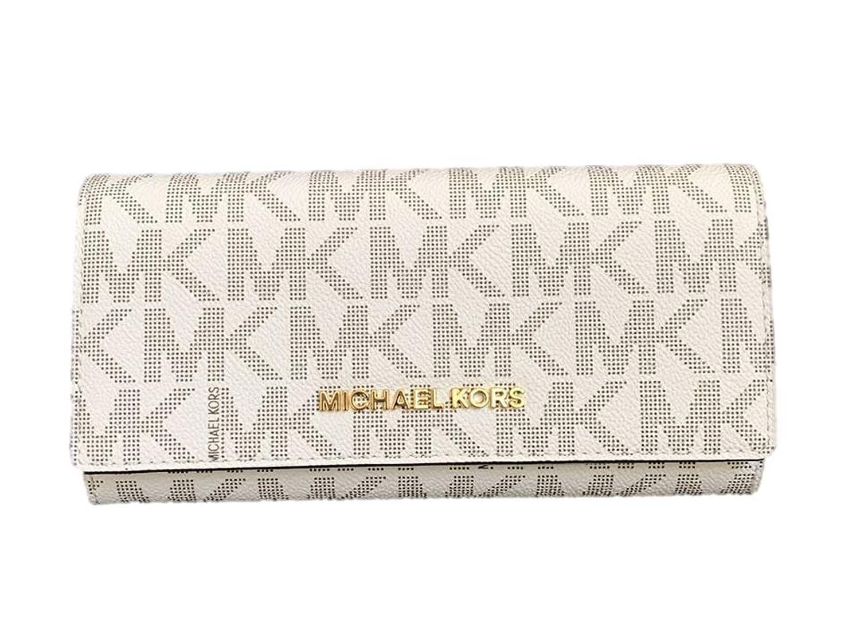 Michael Kors GeldbörseClutch, weiß, 3x10x20 cm, Echtes Leder, Damen, JET SET TRAVEL