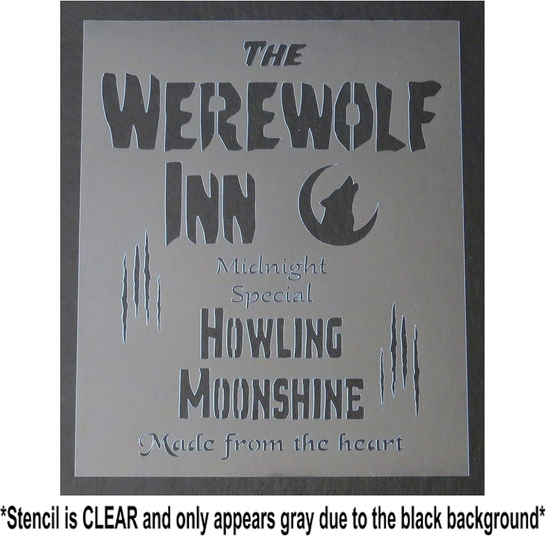 10 X 12 inch Stencil Template The Werewolf INN//Howling Moonshine Halloween//Sign//Bar//Pub//Tavern