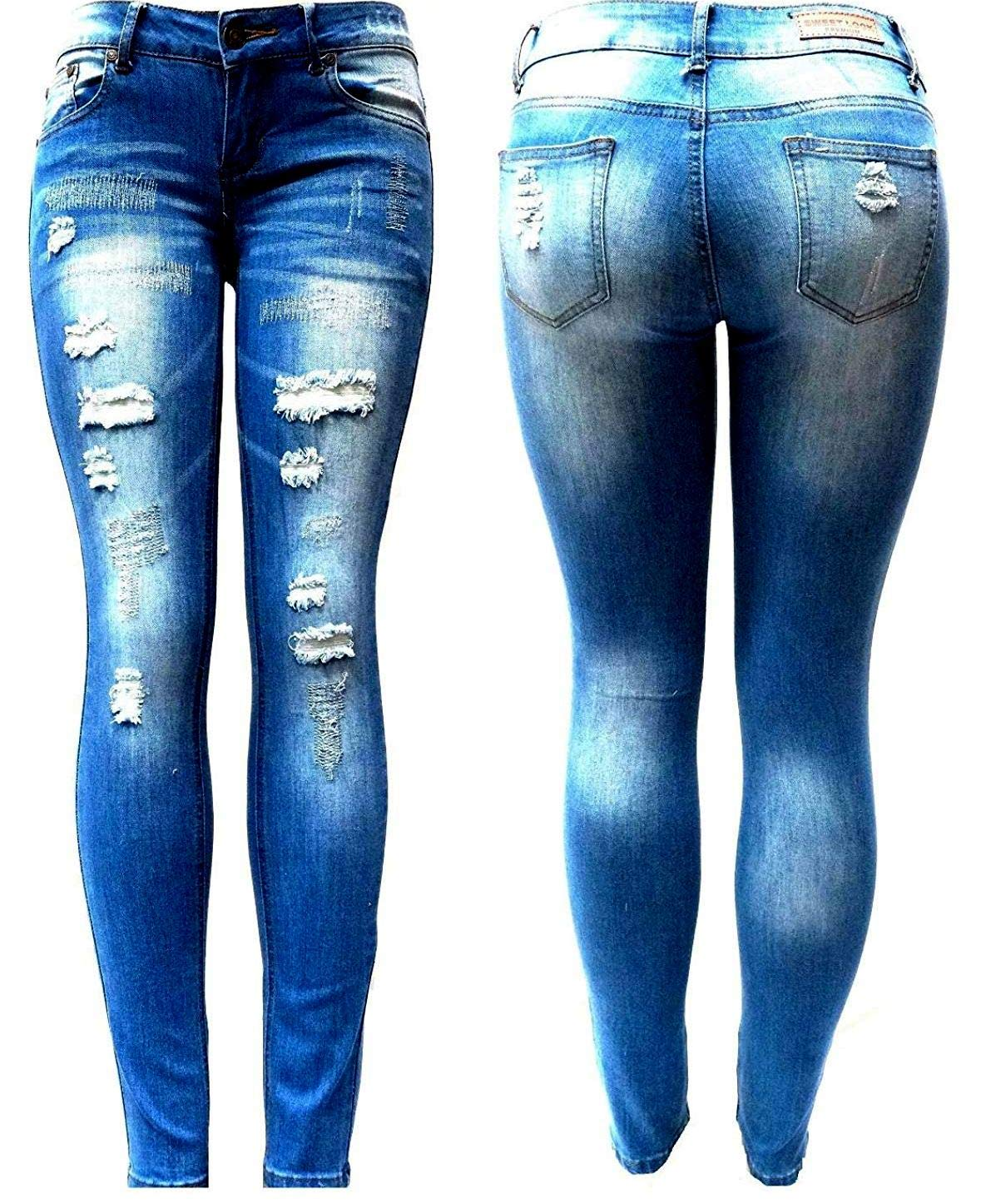 SWEET LOOK BLUE Denim Stretch JEANS Destroy Skinny Ripped Distressed Pants
