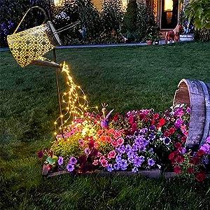 VOOKRY Watering can with Lights,Solar Lantern Outdoor Hanging Waterproof, Decorative Retro Metal Solar Lights for Table Patio Yard Pathway Walkway