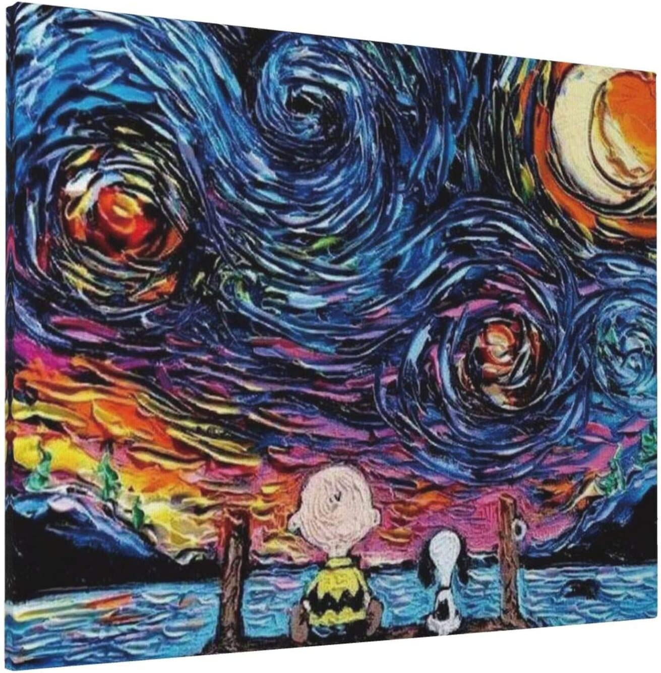 Duwamesva Peanuts Snoopy and Charlie Brown Wall Art Starry Night Decor for Living Room Bedroom Bathroom Artwork