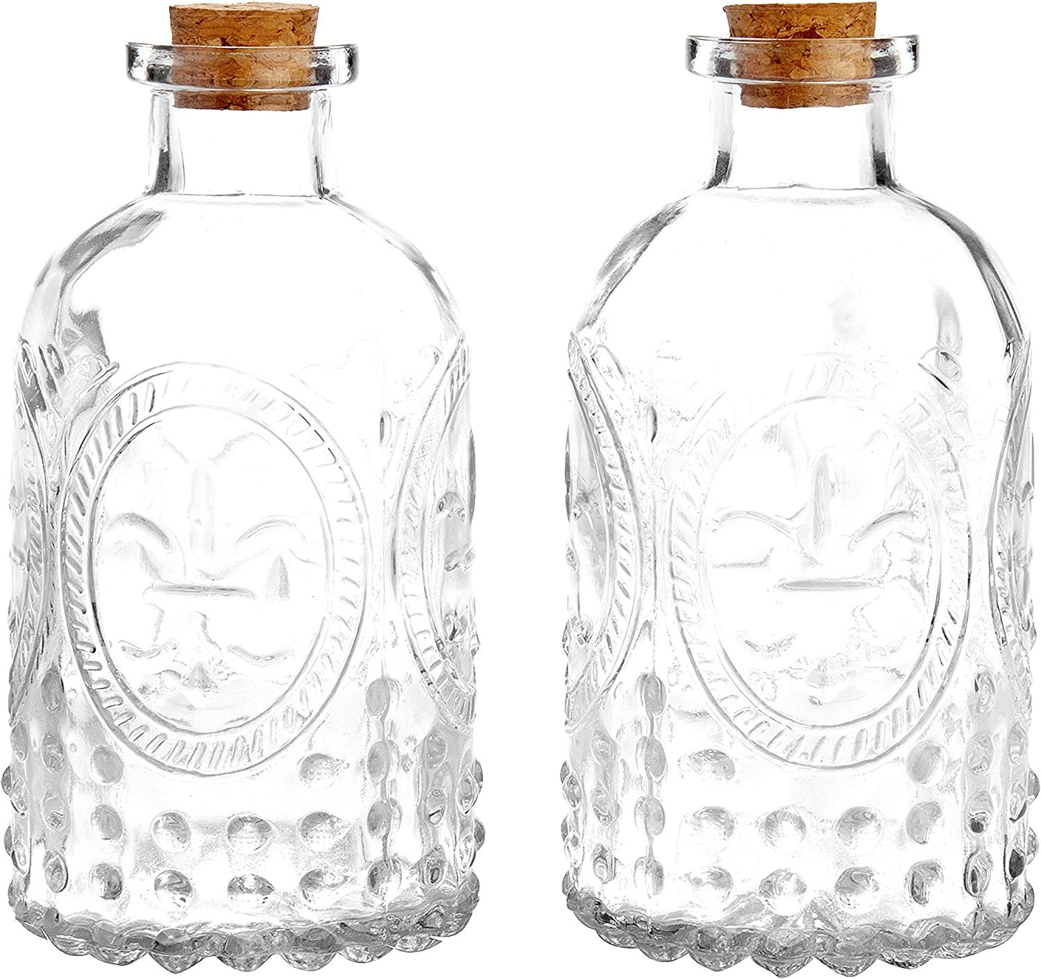 MyGift Vintage Design Embossed Clear Glass Bottles, Apothecary Flower Bud Vase with Cork Lid, Set of 2