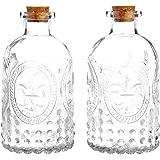 Vintage Design Embossed Clear Glass Bottles, Apothecary Flower Bud Vase with Cork Lid, Set of 2