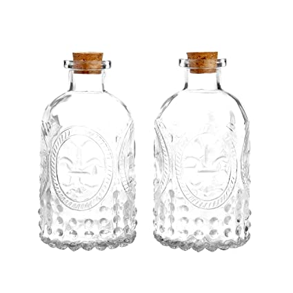 Amazon Vintage Design Embossed Clear Glass Bottles Apothecary