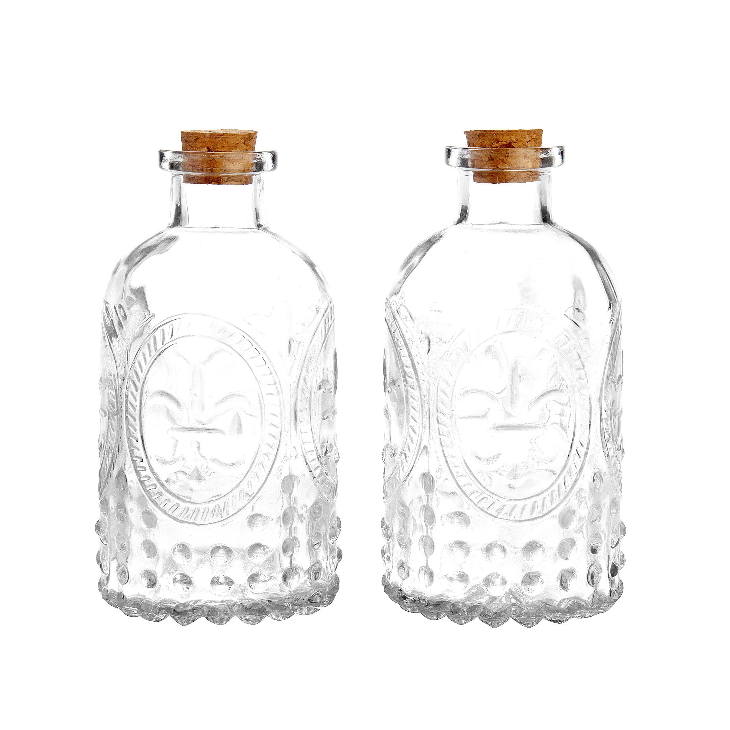 Vintage Design Embossed Clear Glass Bottles, Apothecary Flower Bud Vase with Cork Lid, Set of 2