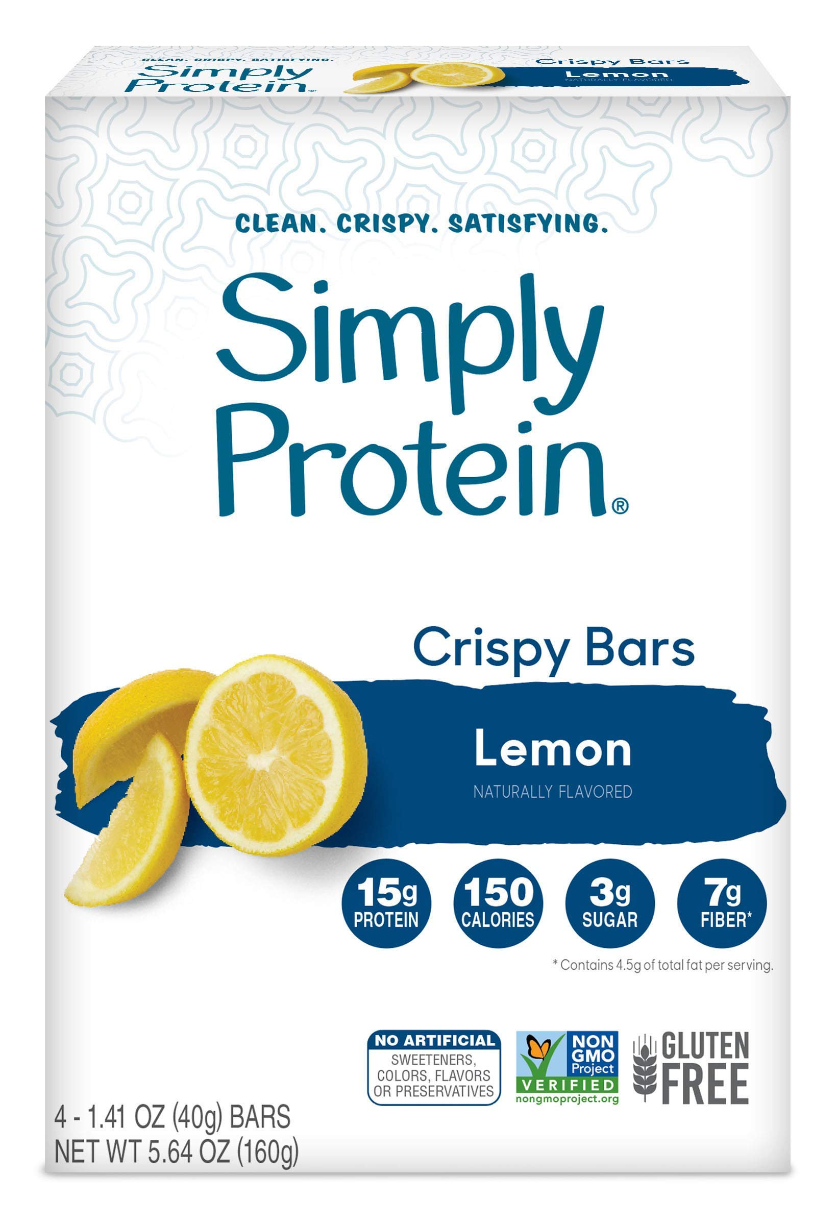 SimplyProtein Crispy Bars. Clean and Light Crispy Bars with Plant Based Protein (Lemon, 24 Pack). by SimplyProtein