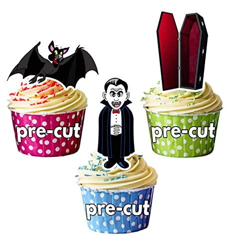 Halloween vampiro Mix, 12 Cup Cake Toppers, comestibles ...