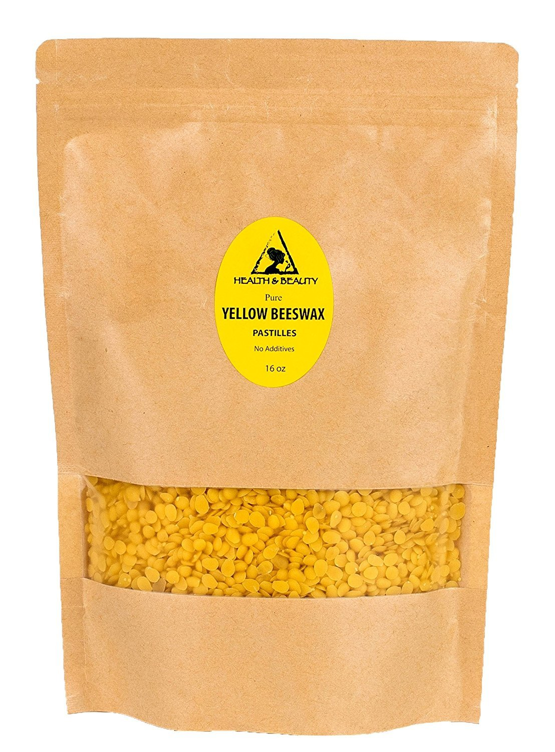 Yellow Beeswax Bees Wax Organic by H&B OILS CENTER Pastilles Beads Premium Prime Grade A 100% Pure 16 oz, 1 LB