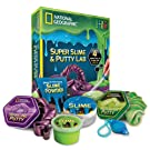 NATIONAL GEOGRAPHIC Super Slime & Putty Lab - 2 Types of Amazing Slime + 2 Types of Putty including Sparkling Putty, Fluffy Slime and Glow-in-the-Dark Putty