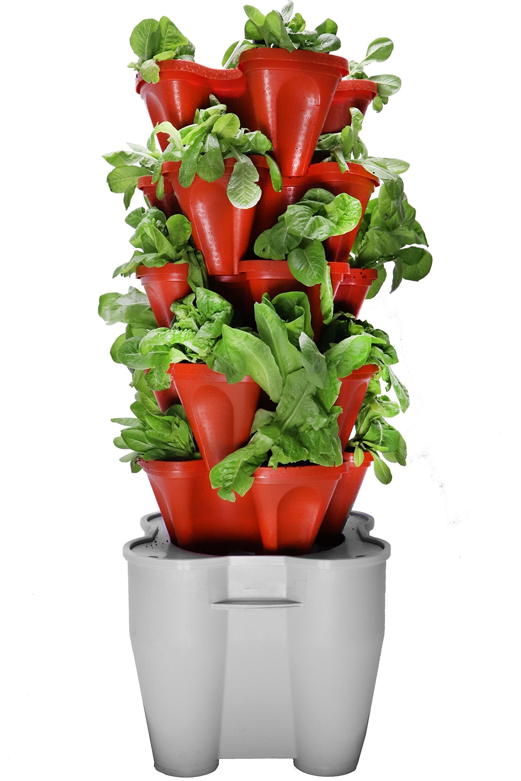 Smart Farm - Automatic Self Watering Garden - Grow Fresh Healthy Food Virtually Anywhere Year Round - Soil or Hydroponic Vertical Tower Gardening System By Mr Stacky (Standard Kit, Terracotta)