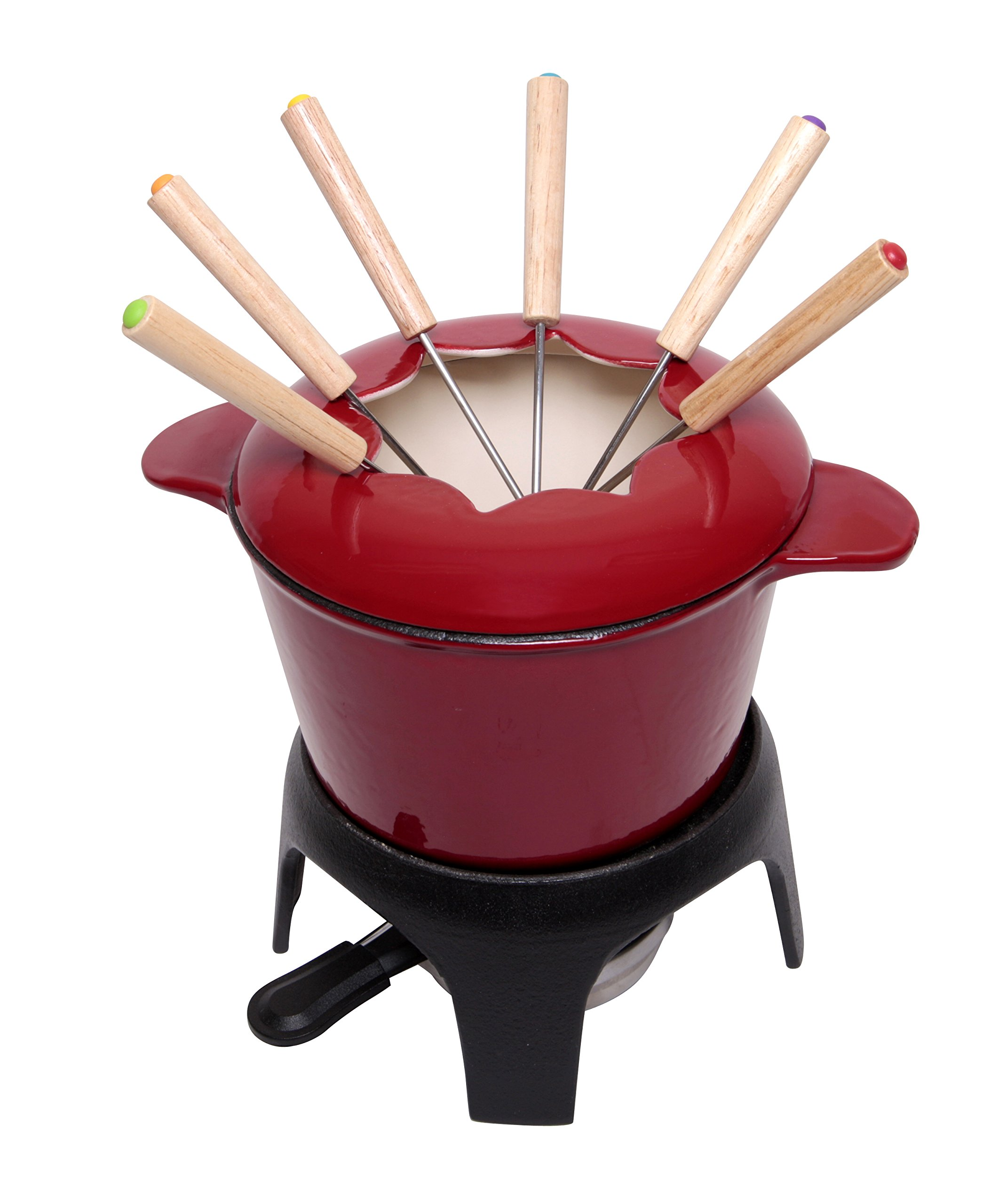 JMilles UH-CI256 1.5QT Cast Iron enamel Fondue Set, Stylish Red Porcelain Enamel