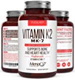 Premium Extra Strength Vitamin K2 Supplement 180mcg -Vitamin K2 MK7 Supports Bone & Heart Health for Cardiovascular Calcium Absorption from Arteries- 60 Easy to Swallow Vegan caps of MenaQ7