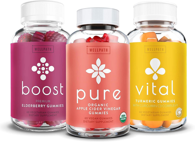 Immune Support Gummies 3-Pack Bundle - Elderberry, Apple Cider Vinegar, Turmeric - Boost Elderberry Gummies - Pure Apple Cider Vinegar Gummies - Vital Turmeric Gummies