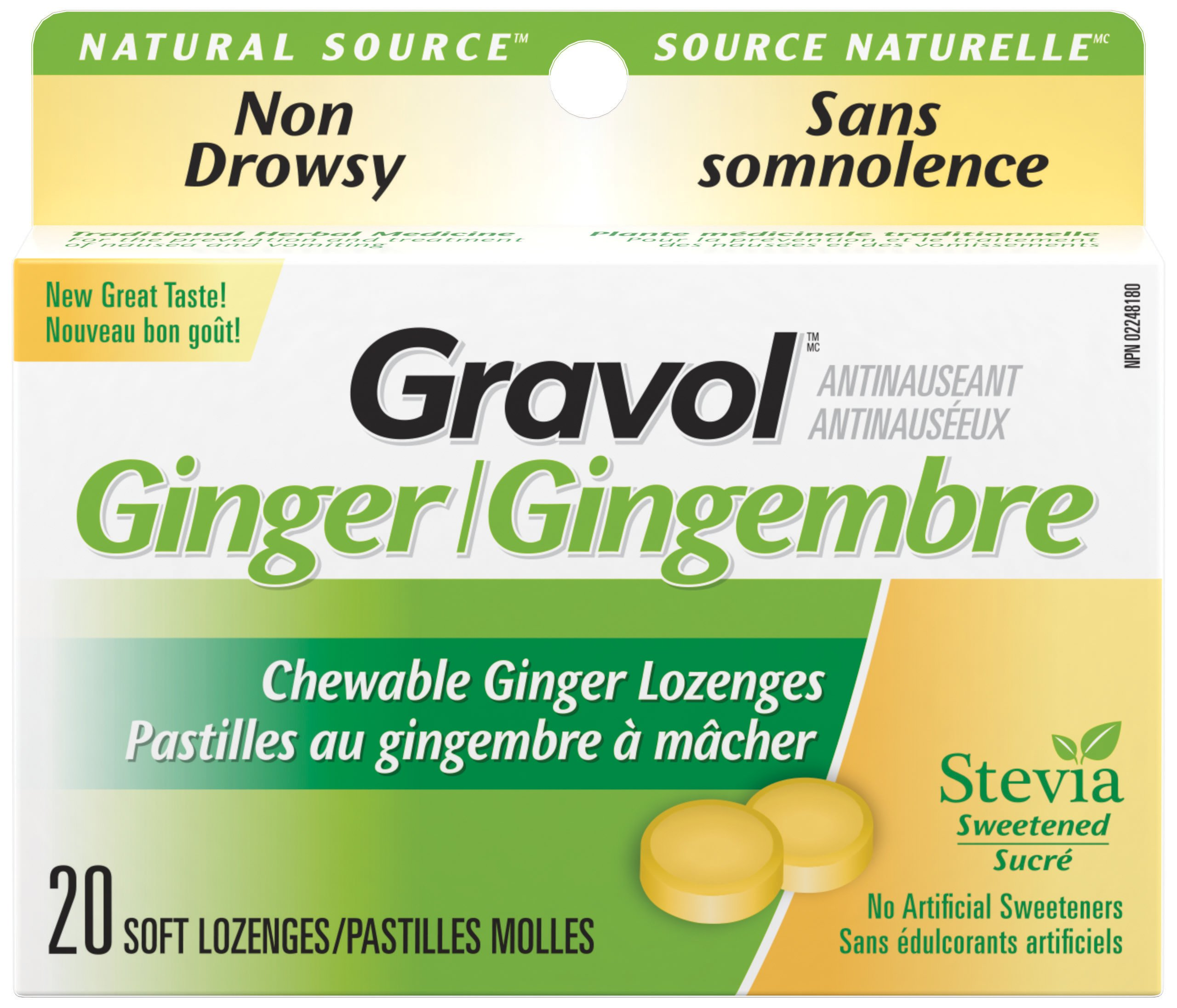 Certified Organic Ginger GRAVOL (20 Chewable Lozenges)500mg Antinauseant for NAUSEA, VOMITING & MOTION SICKNESS by Gravol