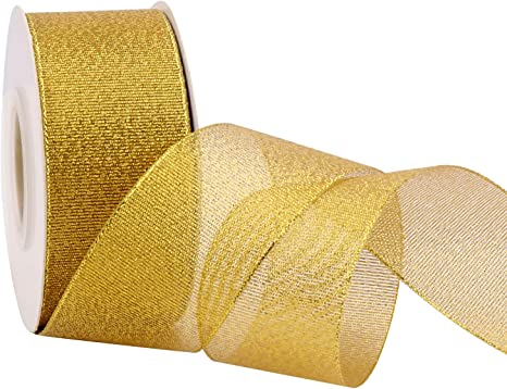 ATRibbons 1-1//2 Inch Wide Sparkly Glitter Ribbons,Gold Metallic Ribbons for Gifts Wrapping Home Decoration Wedding Party and DIY Crafts,25 Yards//Roll x 1 Roll Gold