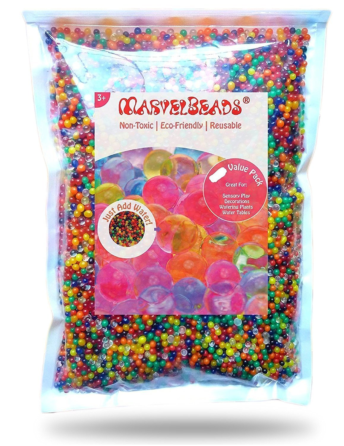 MarvelBeads Water Beads Rainbow Mix (Half Pound) for Spa Refill, Sensory Toys and Décor Elements Trading Inc MB12-250