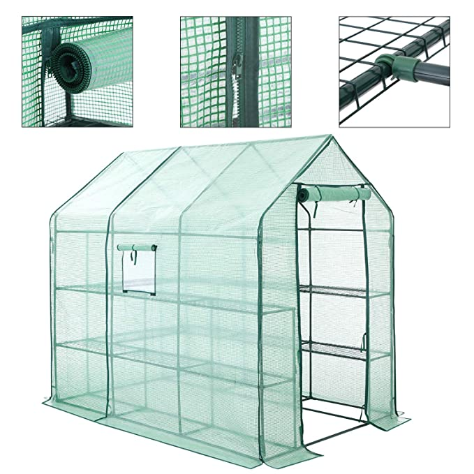 SONGMICS Invernadero para Jardín 14 Estantes Caseta para Tomates Flores Cultivos 143 x 215 x 195 cm GWP13GN: Amazon.es: Jardín
