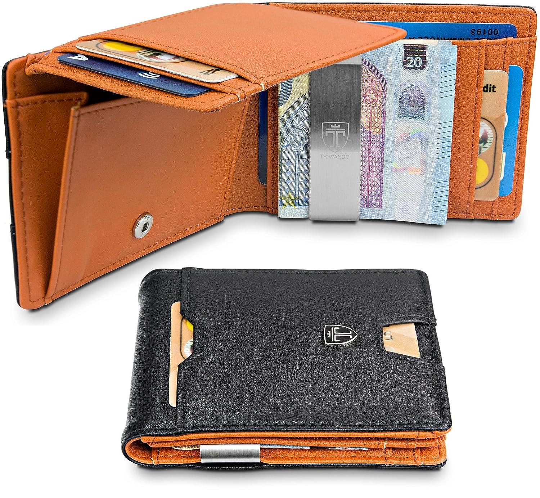 196d45e1f9bca0 TRAVANDO ® Geldbeutel mit Geldklammer Brisbane - 10 Kartenfächer - Großes  Münzfach - Schlankes Portemonnaie - RFID Schutz - Glatt-Leder-Optik -  Geschenk Box ...
