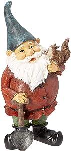 Garden Gnome Statue - Digger the Gnome - Outdoor Garden Gnomes - Funny Lawn Gnome Statues