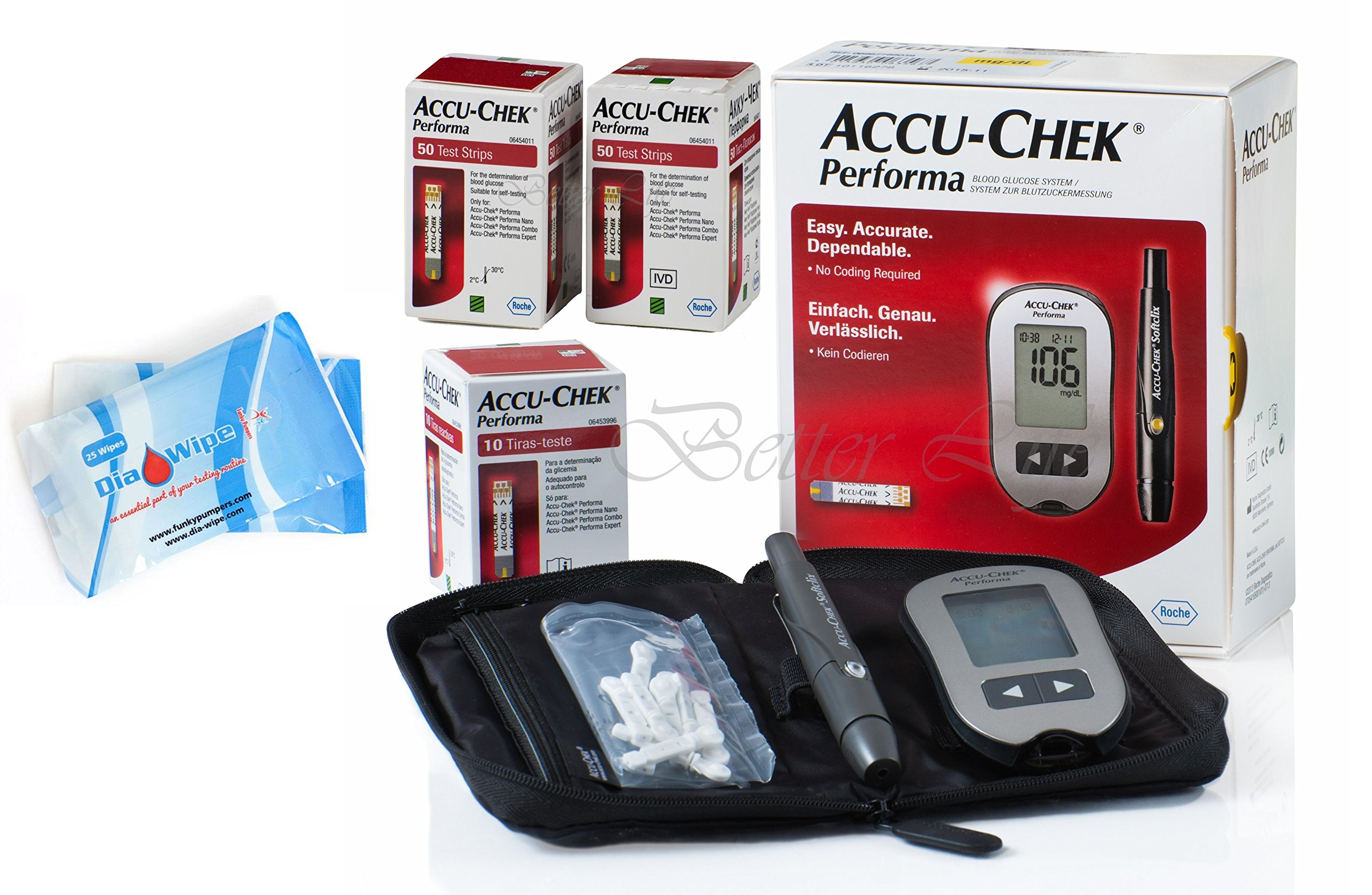 Accu Chek Performa 110 Test Strips + Glucometer Monitor + Diabetes Wipes Finger Sterilizers Cleaners for Accurate Blood Level Results - Very long Expiration Dates
