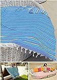 Hamamtuch XXL 'IBIZA' | 150 x 210 cm | Als superdünnes Badetuch oder Strandtuch ideal | Hochwertige Qualität 100% Baumwolle handgewebt, sehr weich| Original nur von ZusenZomer (150x210 cm, Türkis und dunkelblau)