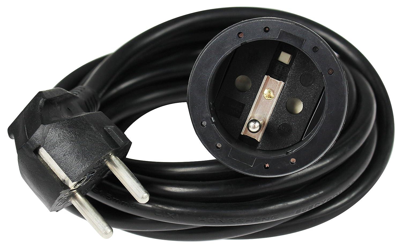 as PVC Noir Schwabe 850512 Prolongateur 5m rallonge /électrique avec terre 220V 16A