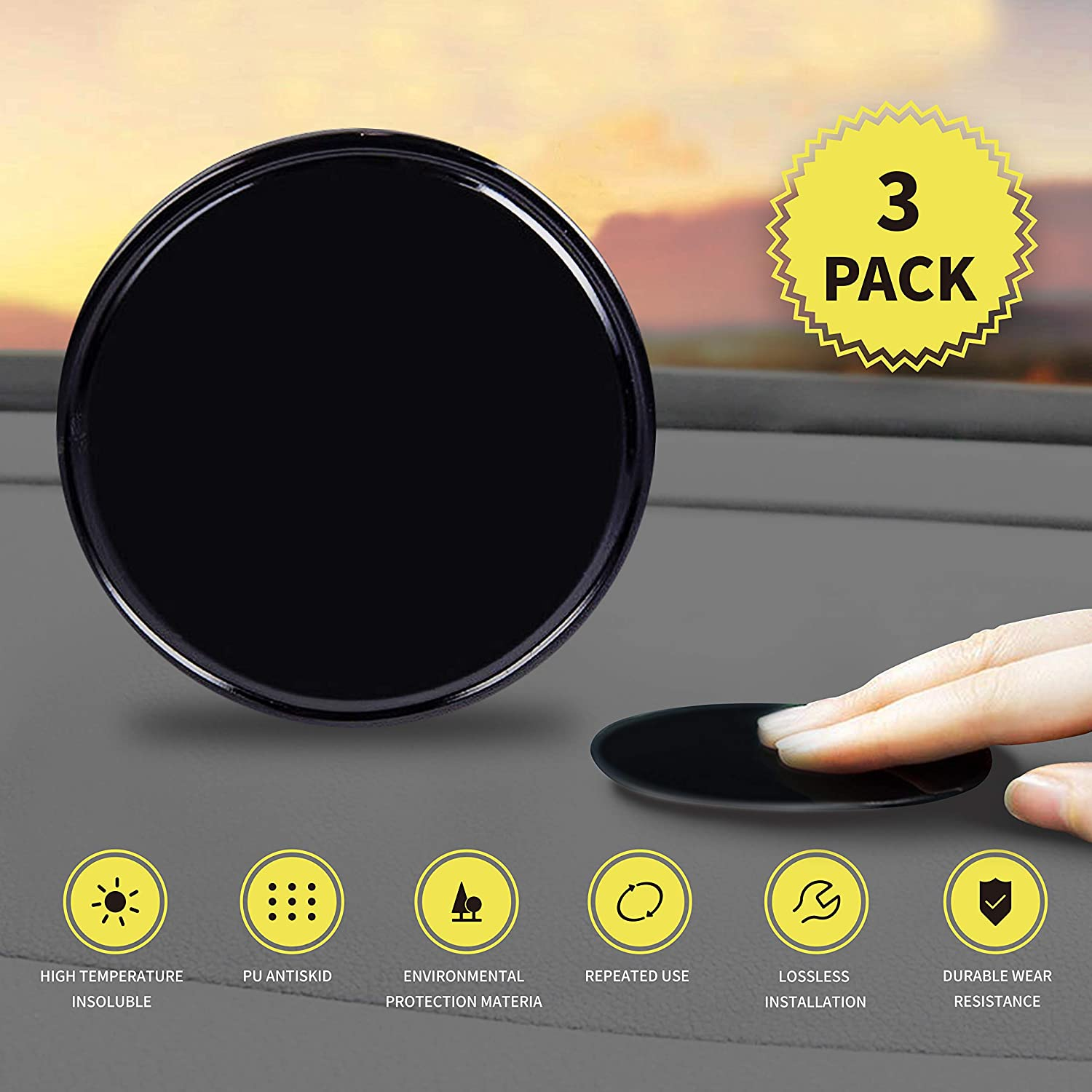 """Dashboard Pad Mounting Disk, 3 Pack CNSL Magnetic Sticky Adhesive Pads for Suction Cup Phone Mount & Tom Tom Garmin Magellan GPS Suction Sat Nav Dash Camera Phone Holder Stick 3.15"""" (80mm)"""