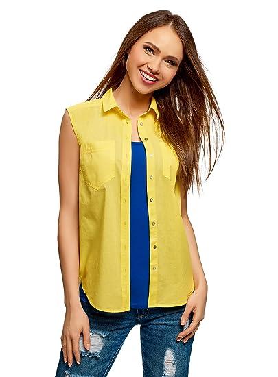 oodji Ultra Mujer Camisa Básica de Algodón: Amazon.es: Ropa y ...