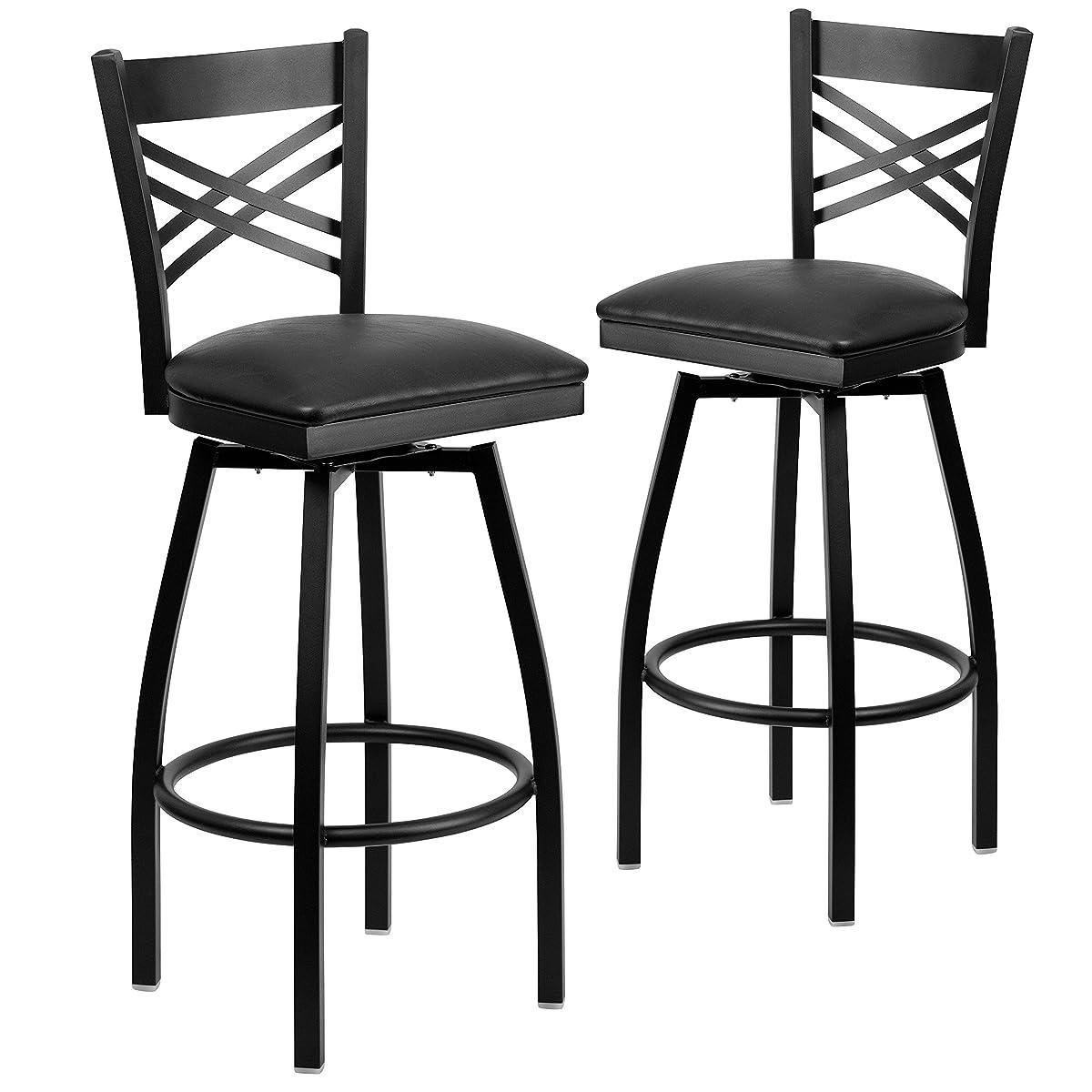 Flash Furniture 2 Pk. HERCULES Series Black X Back Swivel Metal Barstool - Black Vinyl Seat