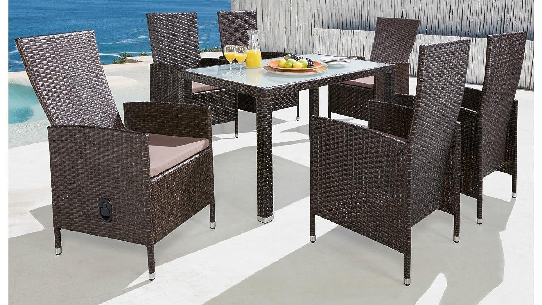 baumarkt direkt 13-tgl. Gartenmöbelset Ibiza, 6 Sessel, Tisch 140x80 cm, Polyrattan, braun braun