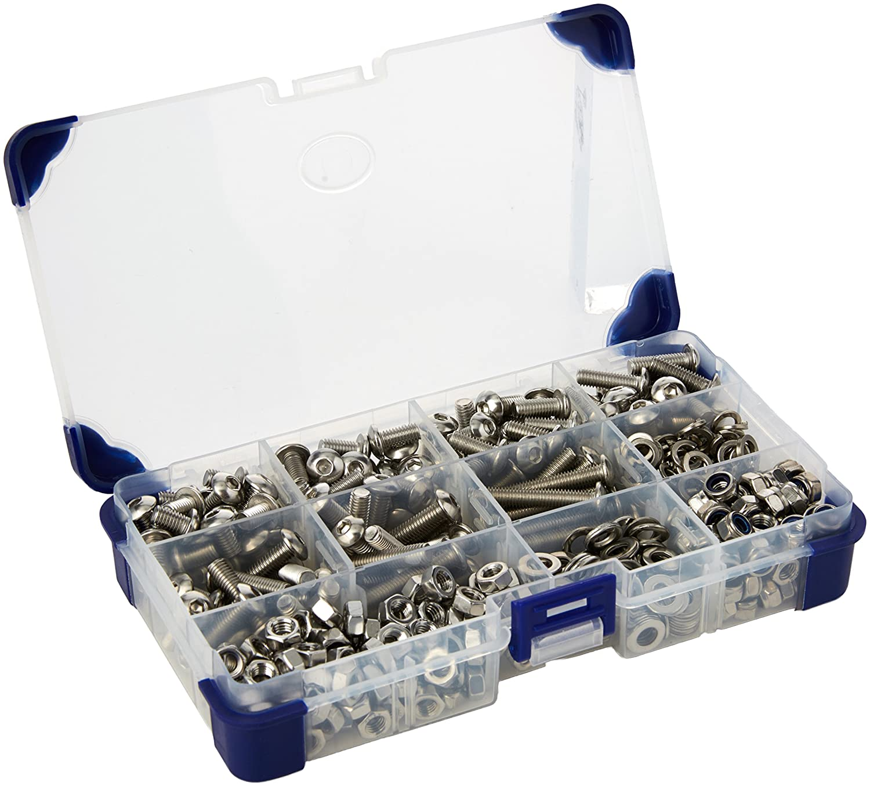 367 piezas AHC K-10017 6 mm M6 acero inoxidable de cabeza A2 juego de tornillos con arandelas y tuercas