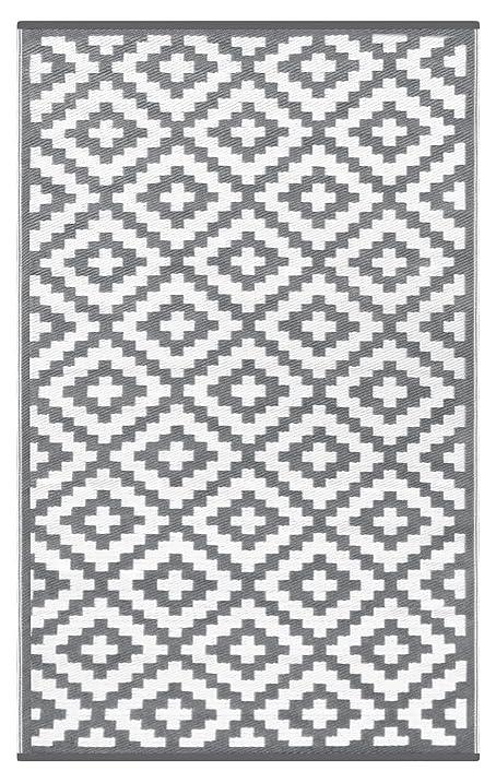 Lightweight Outdoor Reversible Plastic Nirvana Rug (3 X 5, Grey / White)