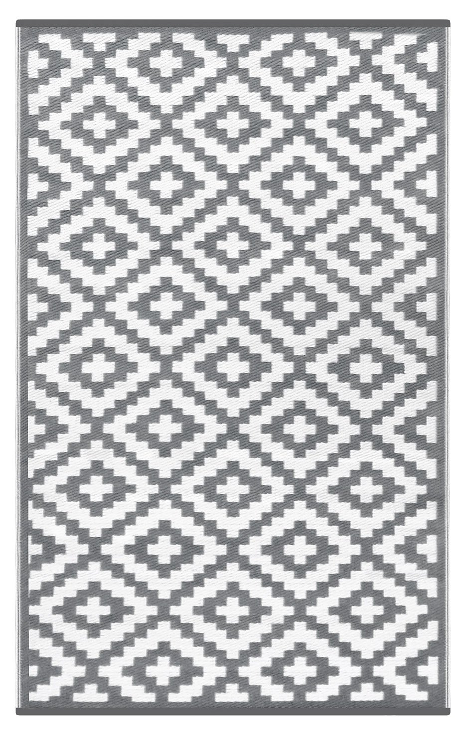 Lightweight Outdoor Reversible Plastic Nirvana Rug (2.3 X 6, Grey/White)