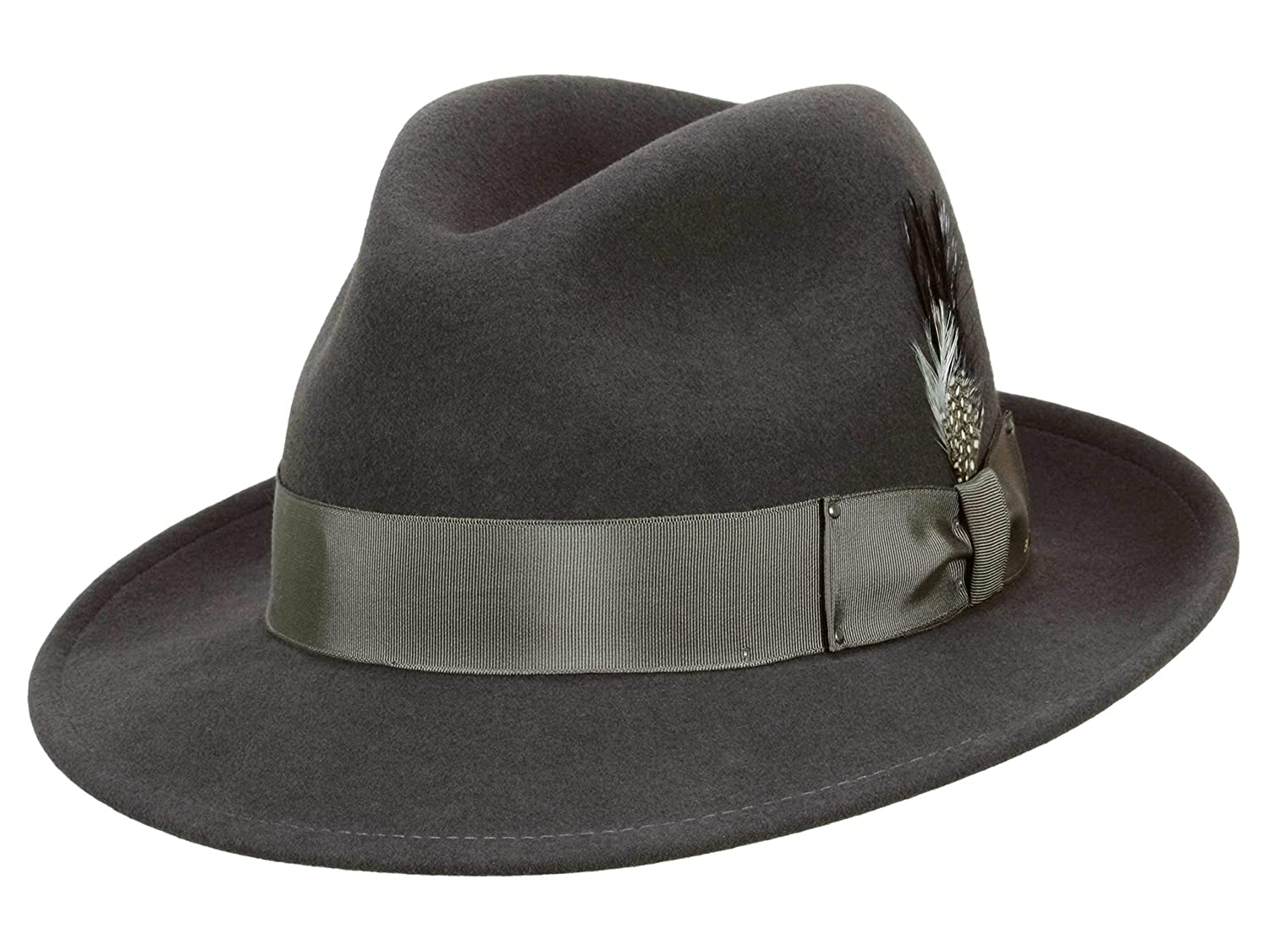 0a801ed54ef Bailey Men s Fedora Hat Blixen - grey  Amazon.co.uk  Clothing