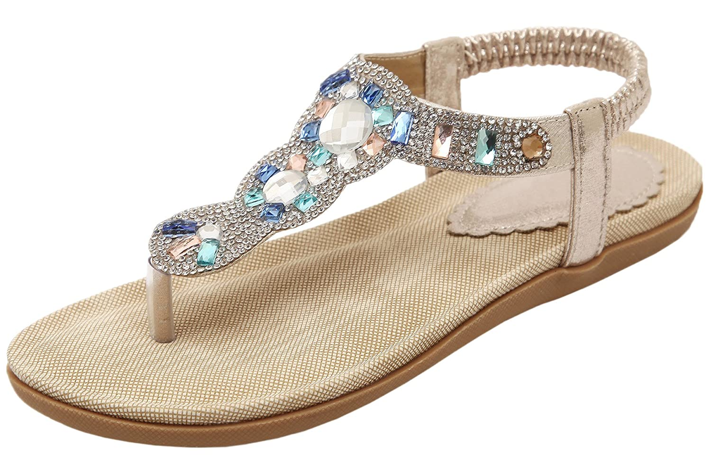 BIGTREE Flats Sandals for Women Summer Beach Bohemian Comfortable Bling Rhinestone Thong Sandals