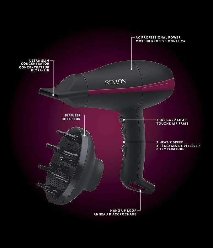 Revlon RVDR5821DE secador Black 2000 W - Secador de pelo (Black, Hanging loop, 2000 W): Amazon.es: Hogar