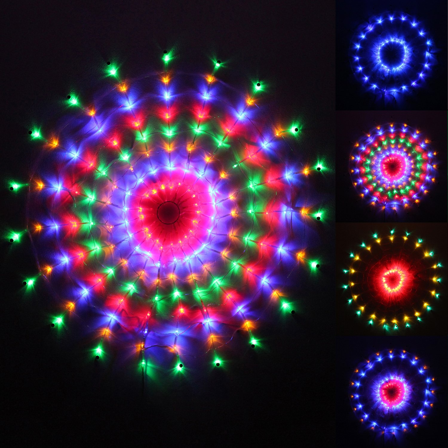160 multi colour led chasing circular web window curtain net christmas lights suitable for indooroutdoor size 70cm amazoncouk kitchen home