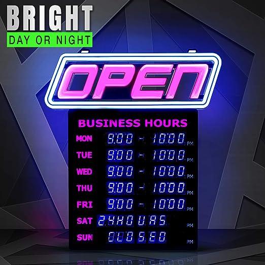 Amazon.com: Letrero abierto LED con horas de negocios ...