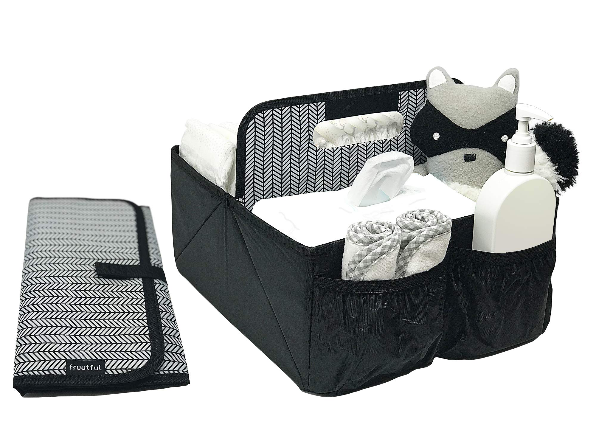 Baby Diaper Caddy and Car Organizer for Accessories: Large Portable Boy or Girl Nursery Storage Bin for Changing Table with Changing Pad: Baby Registry Shower Gift: Baby Stuff by Fruutful