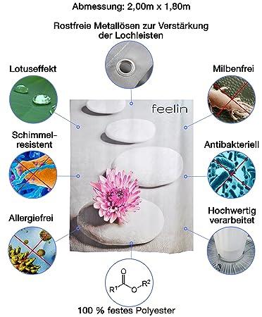 Feelin - Cortina de ducha (180 x 200 cm, con efecto lotus antibacteriano y impermeable. Incluye dos Masaje tuffs - Ducha Esponja para espumar, exfoliante, ...