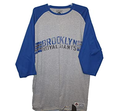 f6166cca Brooklyn Royal Giants - Vintage Team Logo with Blue Sleeves on Grey  Screenprinted Baseball Shirt,