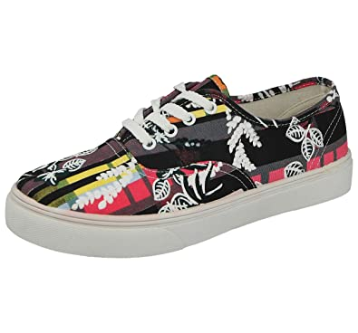b7c282b64d Ladies Low Top Canvas Print Lace Up Slip On Pumps Plimsoll Casual ...
