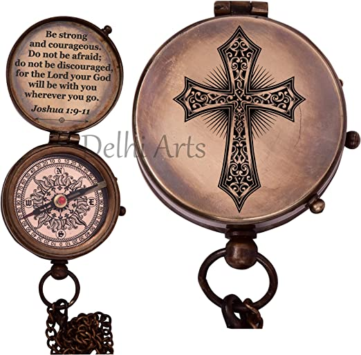 Be Strong and Courageous Do not be Afraid,Engraved Compass W//Box Baptism Gifts