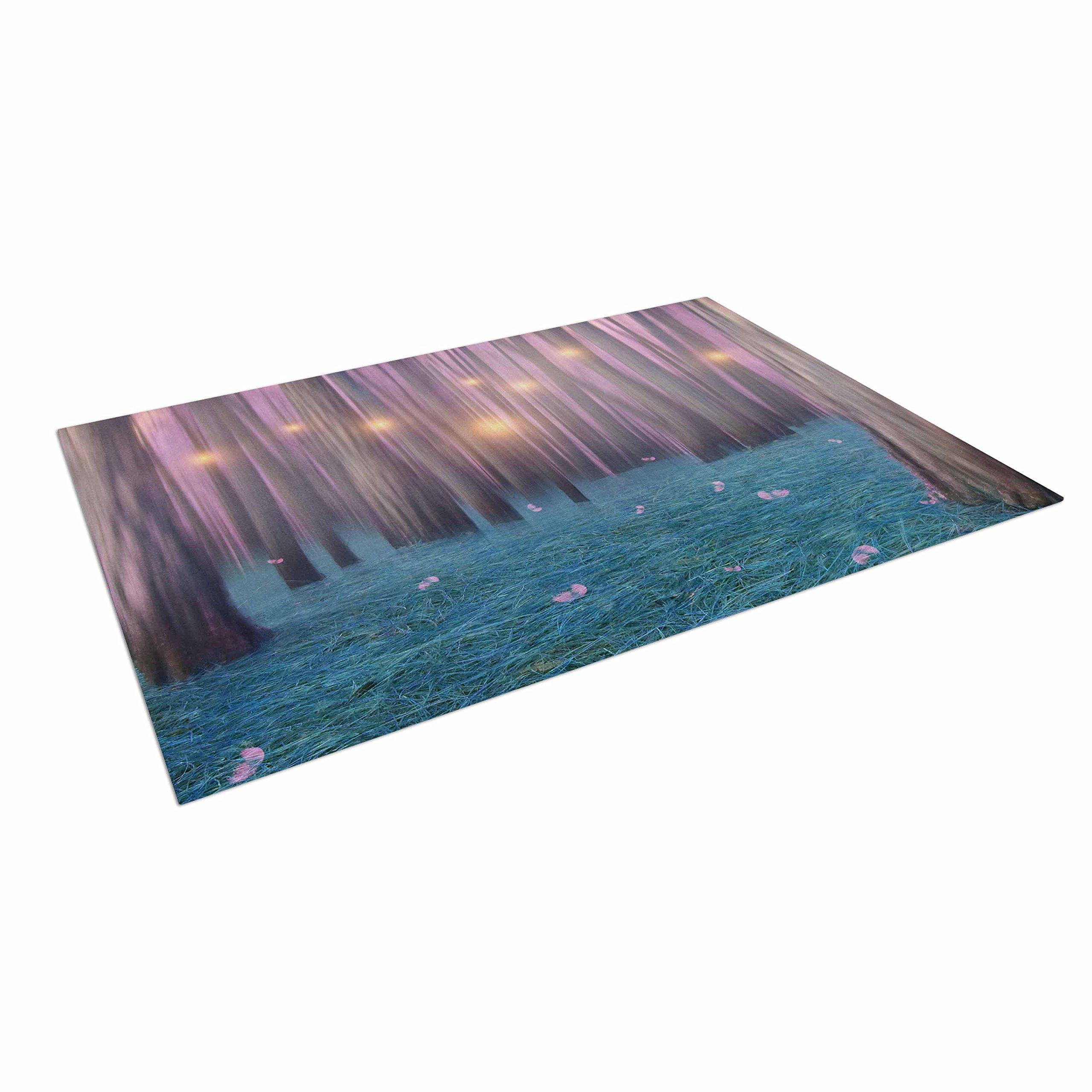 KESS InHouse Viviana Gonzalez ''Pink Feather Dance'' Digital Blue Outdoor Floor Mat, 4' x 5'