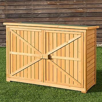 Doble puertas de madera de abeto Patio jardín cobertizo puertas al aire libre gabinete de almacenamiento unidad: Amazon.es: Jardín