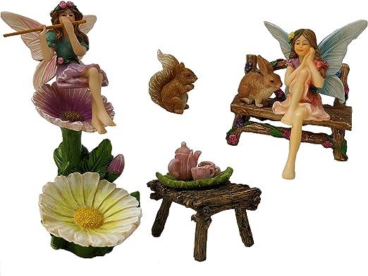Miniatura Jardín de hadas Set/Premium Calidad 11 piezas resina pintado a mano figuras de hada y accesorios/para interior y exterior Decoración: Amazon.es: Jardín